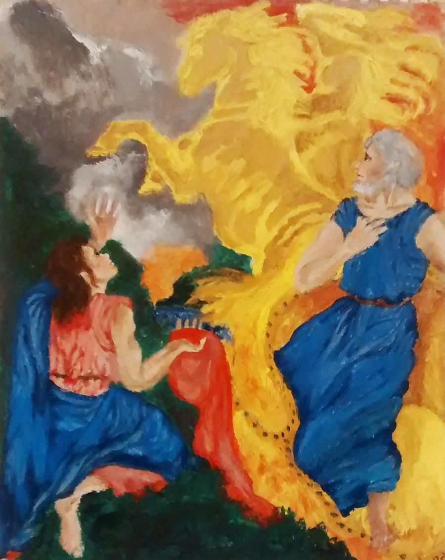 "Olivia Shapic - Grade 10 - ""Elijah being taken to Heaven in a fiery chariot"""